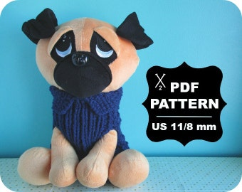 French Two Needle KNITTING PATTERN / Digital Download / #9 / Knitted Dog Sweater / 8, 10, 12, and 14 inches (back) / US11 / 8mm