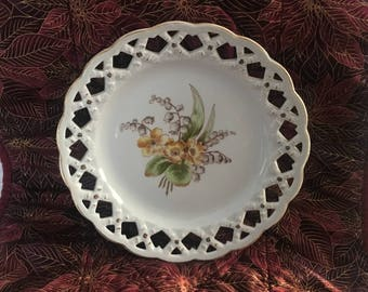 Mitterteich Primrose and Lily of the Valley Plate, Cutout  Around Rim, Latticed Edge, Pierced, Gold Trim, Lily of the Valley, Primrose
