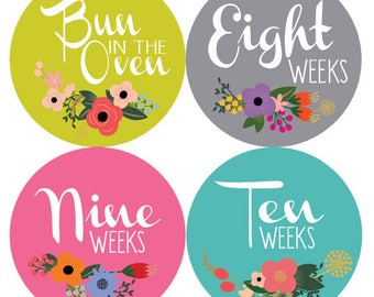 Fancy Floral Multicolored Pregnancy Stickers - Baby Shower Gift - Weekly Baby Bump Pregnancy Stickers Bun in the Oven, Weeks 8-42