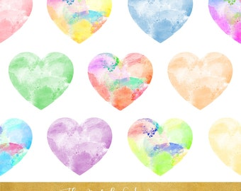 Painted Heart Clipart Set - Funky Watercolor Style - INSTANT DOWNLOAD - 15 .PNG Files