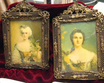 Pair of Jean-Marc Nattier Miniature Portraits Signed Ormolu Gilt Bronze Filigree Frame