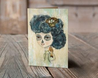 """Dia de Los Muertos """"A Little Birdie Told Me"""" Greeting Card"""