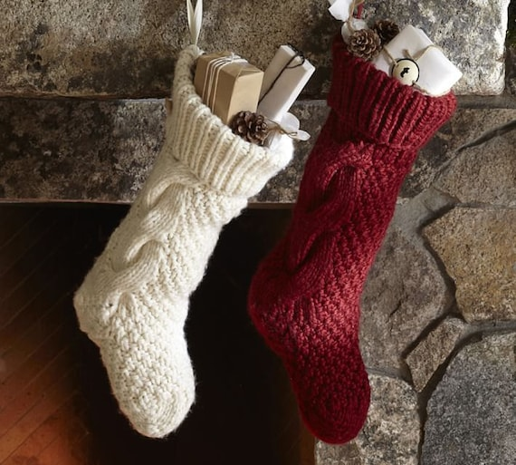 Knit Christmas Stocking Pattern With Name : Christmas Stocking Hand knit Christmas Stocking by craftbyaga
