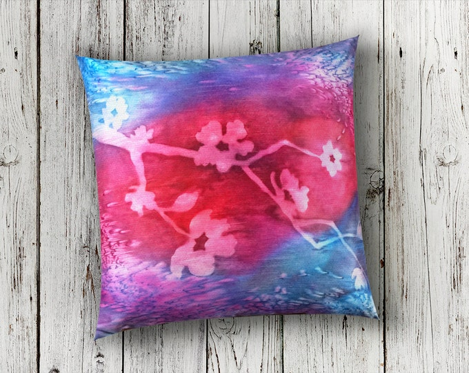 Fuchsia Pillow 18x18-Watercolor Silk Pillow-Cherry Blossom-Bohemian Decor-Boho Cottage Decor-Christmas Gift for Her