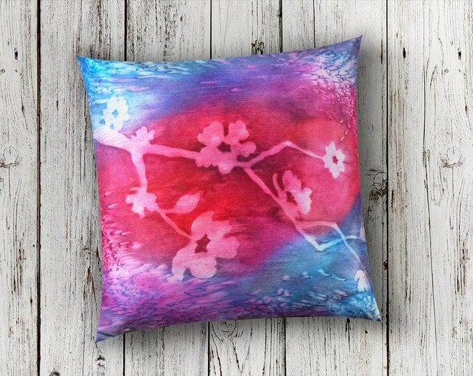Fuchsia Pillow 18x18-Watercolor Silk Pillow-Cherry Blossom-Boho Decor-Christmas Gift-Gift for Her-Home Decor Gifts-Watercolor Home Decor