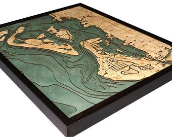 Siesta Key Wood Carved Topographic Depth Map