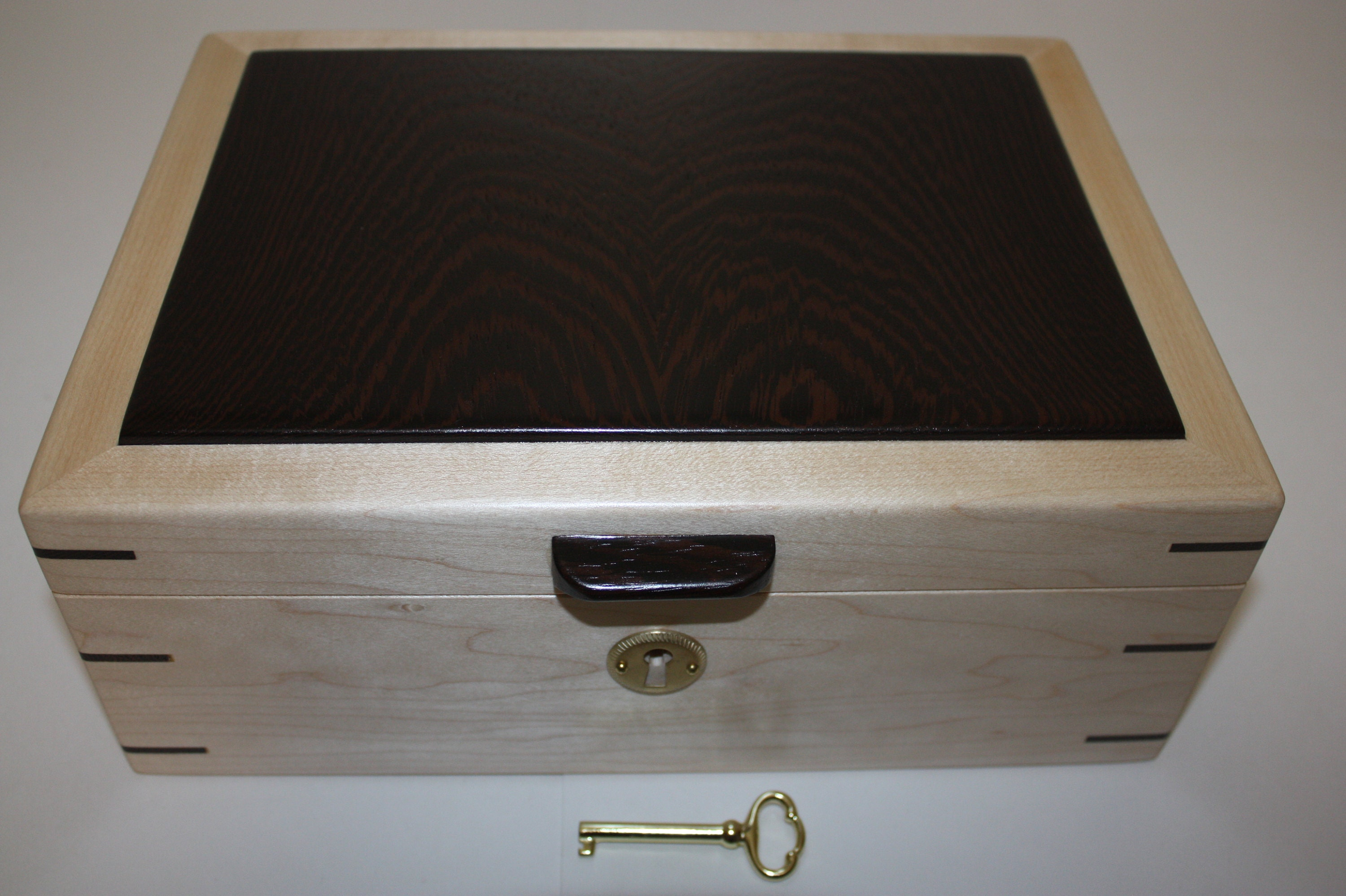 Maple and Wenge Wood Locking Box For Sale