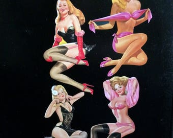 1940's style Pin Up Magnets, Blonde Bombshels, 4 Piece Set