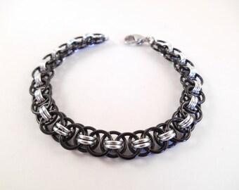 Black Helm's Bracelet - Black Anodized Aluminum Helm's Weave Chain Maille Bracelet