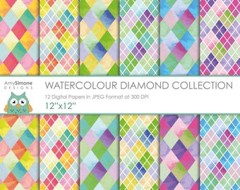 "Watercolour Diamonds 12""x12"" Digital Papers"