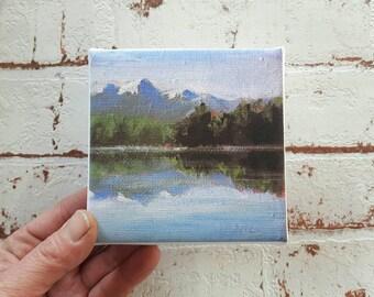 small canvas print, landscape painting , mountain print, print on canvas, artprint, small painting, tiny canvas, mini canvas 4x4 print