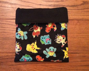 Sleep Sack, Cuddle Sack, Black Pokemon, for Hedgehog, Sugar Glider, Guinea Pig, Rats, and other Small Animals