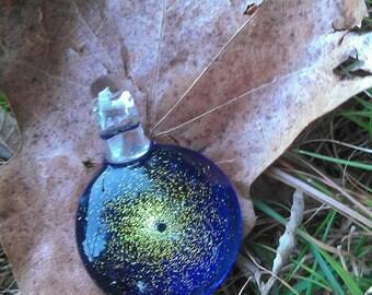 Gold Dichro Over Cobalt Blue Heady Glass Pendant / Heady Dichro Glass Pendant / Heady Pendant / Glass Pendant / Gold Dust Pendant / glass