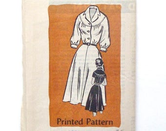 Vintage 50's Mail Order Dress Pattern #4861 - PRE-CUT/Factory Folded - Size 14 (Bust 34)