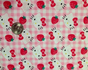 Cotton Fabric FQ - Hello Kitty Strawberries on Pink Gingham Fabric Fat Quarter For Crafts, Quilting, Kids Crafts, Pink, Girls, Plaid