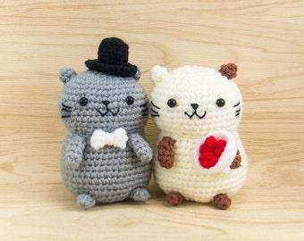 Crochet Amigurumi - Cat Couple -- Crochet Wedding Decor, Wedding gift idea