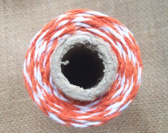 10m Orange and White Bakers Twine 8ply 2mm 100 % Cotton Crafts