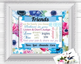 """Personalized / Custom Gift Friends, BFF, Besties Wall Art Sign  8x10"""" Any Names, Printed, Flowers, Colorful"""