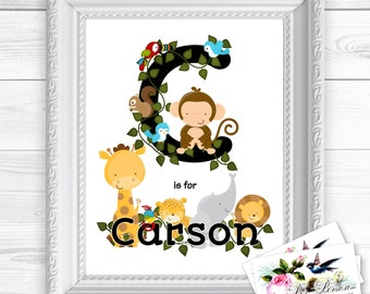 "Personalized / Custom Gift Boy, Initial & Name, Jungle Zoo Animal Wall Art Sign 8x10"", Male, Masculine Monkey, Lion, Giraffe, Elephant"