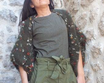 Mohair Shrug Boho shrugs Army green shrug dress cover up knit shrugs