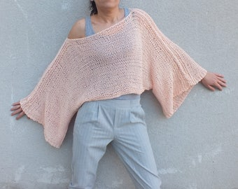 Off the shoulder sweater, Cotton crop sweater, Peach sweater, Summer sweater