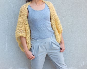 Yellow Shrug, Loose knit shrugs, dress cover up, knit shrugs, boleros for women,mohair-like look