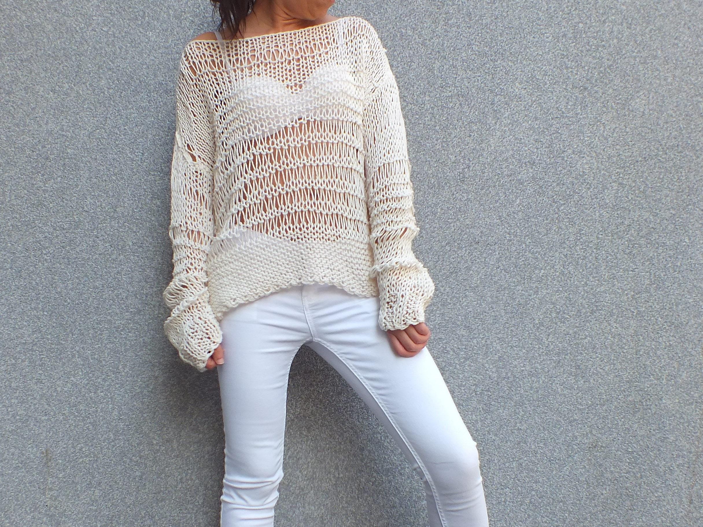 Ecru sweater off the shoulder sweater cotton sweater Loose