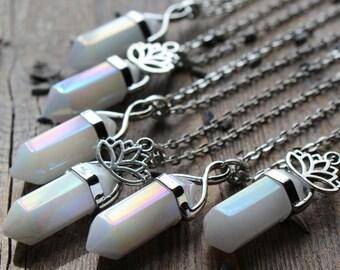 Angel Aura Crystal Necklace Quartz Crystal Necklace Healing Crystals and Stones Rainbow Crystal White Titanium Crystal Raw Crystal Chakra