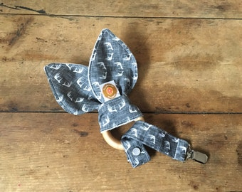Antlers baby teething ring with crinkle fabric and organic cotton and fleece