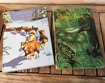 Mid Century Set Of Junior Illustrated Library Books Titled The Jungkle Book and The Call Of The Wild