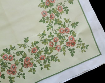 Vintage tablecloth with print wild rose