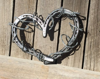 Horseshoe Heart - Horseshoe Heart with Barb Wire - Horseshoe Decor - Rustic Decor - Horseshoe Art - Christmas Gift - Rustic Gift, Home Decor
