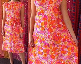 Mod Dress Thai Silk Dress Psychedelic Dress Siam Silk Dress Vintage 60s Thai Silk Dress