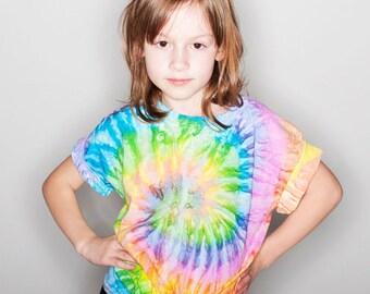 Girl's Tie Dye Tshirt e Girl's Tie Dye Shirt Tiedye Top Youth Tie Dye Shirt Girl's Tshirt « CD100Ysaturn «« (crew, td tee) «