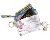 Paris Credit Card Holder Key Chain Coin Purse Wallet Small Zipper Pouch Credit Card Slots Business Card Case Tassel Garden Crown Pink Blue