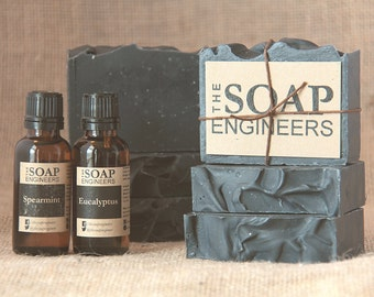 All Natural Spearmint Eucalyptus Charcoal Shea Soap (Super Moisturizing)