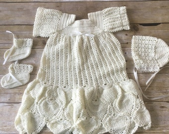 HANDMADE Crocheted Christening Gown. Lace Christening Gown. Bonnet. Booties. Off-white. Fancy Christening Gown.