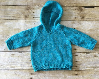 HANDMADE Baby Hooded Sweater. Baby Boy Sweater. Baby Blue Sweater. 6-9 months