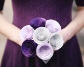Bridesmaid Bouquet - Paper Flower Bouquet - Wedding Bouquet - Bridal Flowers - Wedding Bouquet Alternative - Bridal Flowers - Purple Omb
