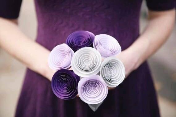 Bridesmaid Bouquet - Paper Flower Bouquet - Wedding Bouquet - Bridal ...