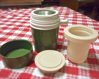 Vintage Thermos~Thermos With Insert~Retro Thermos~Vintage Camper Accessories~Vintage Coffee Thermos~Vintage Green Thermos~Lunch Box Thermos