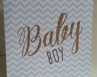 New Baby Card Glitter effect print - Can be personalised