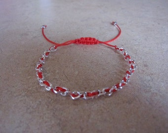 Silver Chain Red String Bracelet. Kabbalah Bracelet. Good Luck Bracelet. Evil Eye Bracelet. String of Fate. Protection. SCRSKB