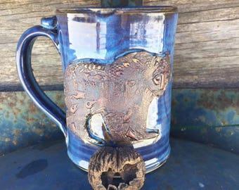 14 Ounces - Spirit Bear - Stamped Mug - Aurora Borealis Glaze - Wheel Thrown Pottery