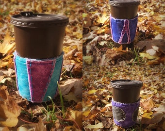 Coffee cup sleeve  - Warm coffee sleeve - Iced cup sleeve - Frozen cup sleeve - Reusable coffee cozy