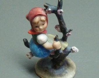 Vintage Hummel Figurine Girl in Apple Tree Antique Porcelain Figurine Home Decor Knick Knack Bisque Porcelain Small Collectible Figurine
