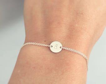 Sterling silver bracelet, Initial bracelet, monogram bracelet, dainty bracelet - friendship bracelet, wedding accessory, everyday jewelry