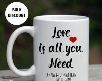 Coffee Mug Wedding Favors, Alternative wedding favors, Love is all you need, Wedding Favors Bulk, Custom Wedding Favors, Mug Favors, -MF2