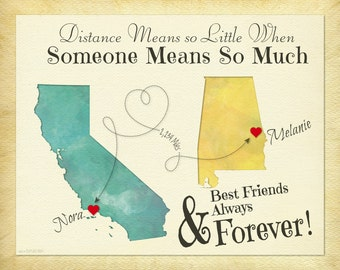 Moving Away Gift for Best Friend, Personalized Best Friend Gift, Long Distance Gift for Friends, Friendship Quote, Choose Your Places (1a)