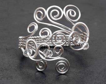 Silver wire bracelet cuff, silver bracelet cuff ,silver plated copper wire  cuff ,